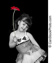 adorabe stock photo in black and white of litte girl in...