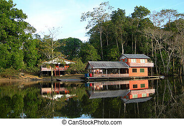 Houseboat in rainforest - Houseboat in the rainforest on Rio...