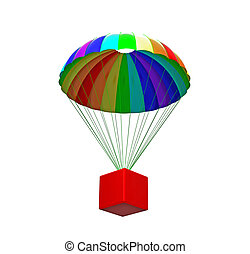 Parachute with package - Rainbow parachute with package...