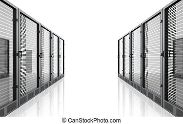Server Room - 3D rendered Illustration Isolated on white...