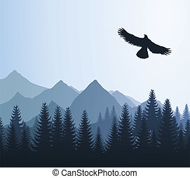 Eagle over woods and mountains. A vector illustration