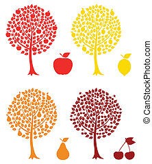 Fruit tree - Set of fruit trees A vector illustration