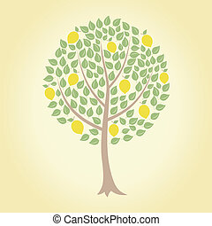 Lemon tree - Tree and yellow lemons on it A vector...