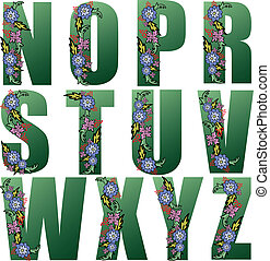 Green Alphabet with flowers 2 - Big green letters of the...