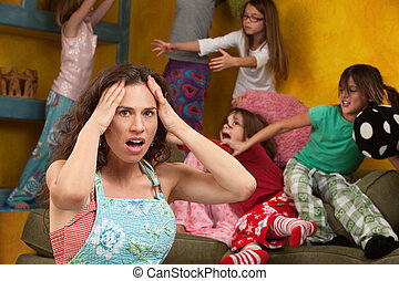 Mischievous Little Girls - Upset mother with hands on head...