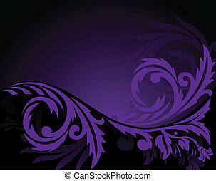Horizontal purple ornament - abstract black background with...