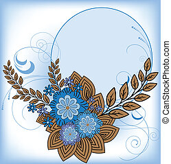 Round frame with blue flowers