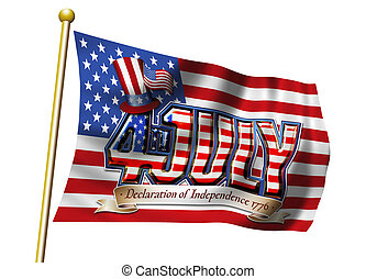 4th July Flag Graphic - 4th July on Stars and Stripes Flag...