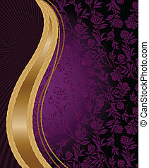 Vertical golden wave - solemn purple floral background with...