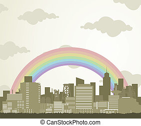Rainbow over a city