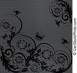 vector illustration of a wire metal texture with floral ornament