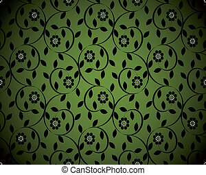 vector illustration of a green seamless floral background