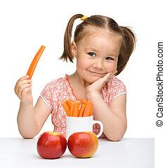 CÙte, pequeno, come, cenoura, maçãs, menina