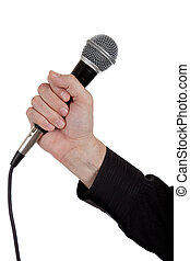 Single microphone on white background
