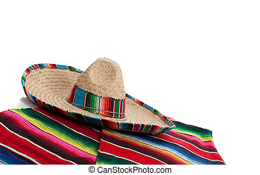 Serape and sombrero on a white background with copy space -...