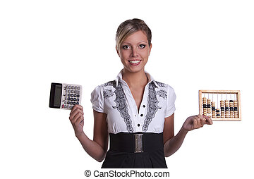 Businesswoman holding woodenabacus and calculator. - Tough...
