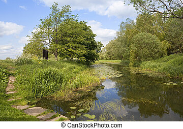 english waterway - an english landscape and waterway with...