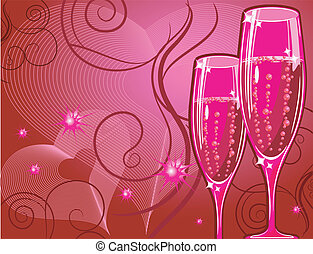 Champagne glass on red
