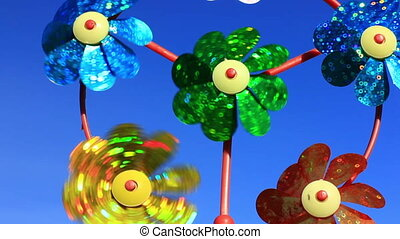 Childrens pinwheel in windy weather close up
