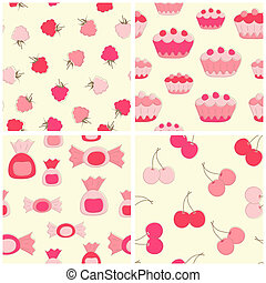 Sweets seamless backgrounds. - Sweets seamless backgrounds...