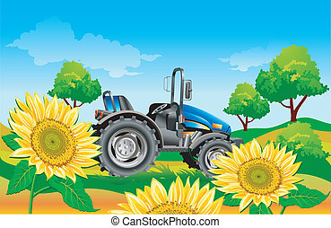 Tractor on field - Agricultural machine, tractor in dark...
