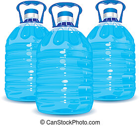 Three bottles - Three big bottles of water with handle...