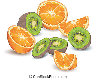Orange and kiwi - Whole and half orange and kiwi on white...