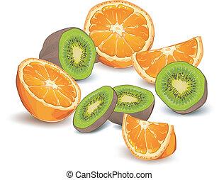 Orange and kiwi - Whole and half orange and kiwi on white...