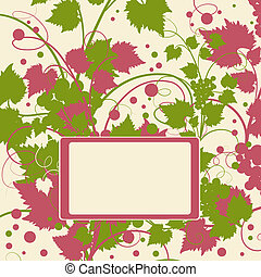 Grape background frame. Vector illustration.