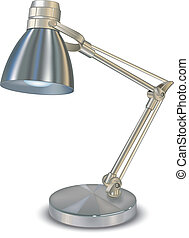 Lamp - Metallic desk lamp, isolated object on white...