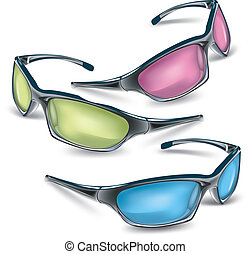 Sunglasses - Tree sunglasses with color glasses, vector...