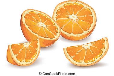 Orange - Whole and half orange on white background, vector...