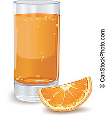 Orange juice - Glass of orange juice isolated on white,...