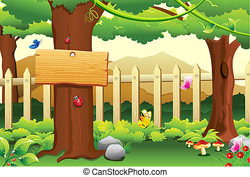 Rural Scene - illustration of beautiful rural garden scene...