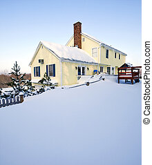 Snowy House - Typical colonial style house in deep snow and...