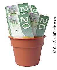 Pot of Cash - Plastic flower pot filled with Canadian 20...