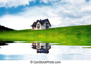 Novo, lago, casa