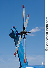 The tail rotor of a helicopter - Closeup of the tail rotor...
