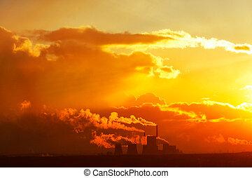 Smoke factory sunset