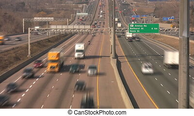 Highway traffic. Timelapse. - Morning traffic on the 401...