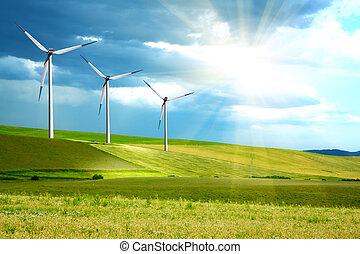 granja, isla, turbinas, verde, viento