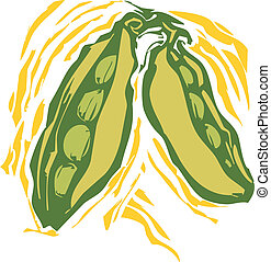 Peas - peas in a pod in a woodcut style image of produce.