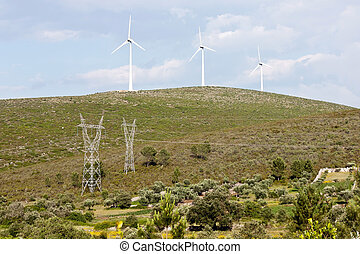 Wind Turbines and High Voltage Pylons