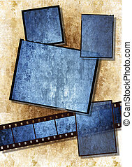 Film strip and film plates with blue vintage grunge texture, high detail