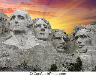 Mount Rushmore at Sunset, USA - Mount Rushmore at Sunset,...