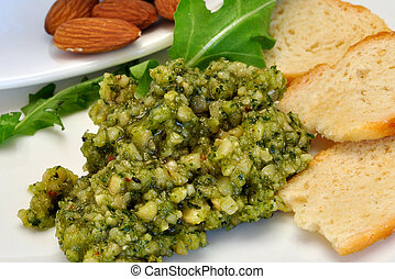Bread and Dip - Dip, bread and Almonds for snacking