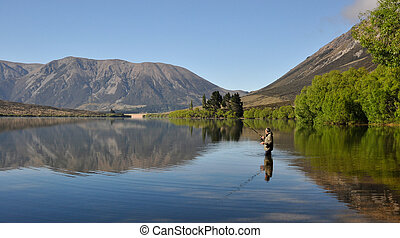 Man Fishing in New Zealand
