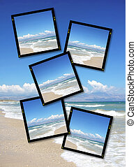 film plates with summer sky and ocean image on white background