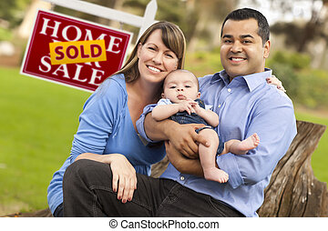 Mixed Race Couple, Baby, Sold Real Estate Sign - Happy Mixed...