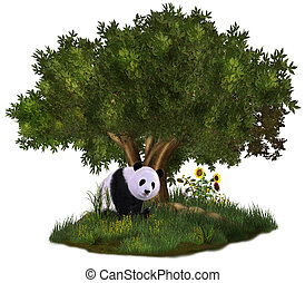 cute Panda - a cute panda bear sits in a meadow under a tree